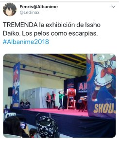 A twitter post of my performance of Jack Bazaar at the Albacete Anime Expo